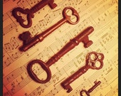 5 Antique Skeleton Keys - Natural Aged Patina