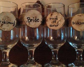 Bridesmaids Rustic Wine Glasses