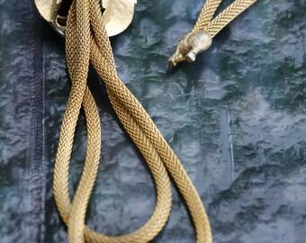 Vintage Golden Mesh Lariat Style Necklace