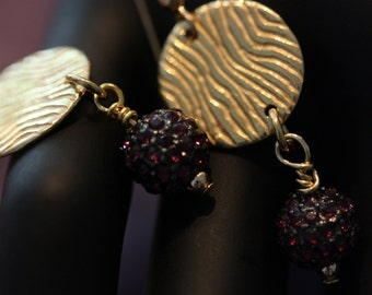 Lovely and feminine, berry and gold earrings.