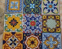 "9~MEXICAN TALAVERA POTTERY 4"" tile Clay Hand Painted"