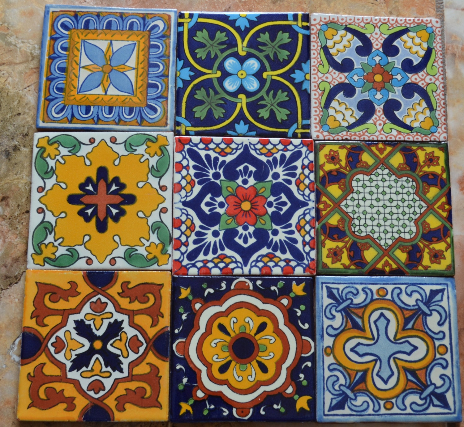 Mexican Tiles: 9MEXICAN TALAVERA POTTERY 4 Tile Clay Hand Painted
