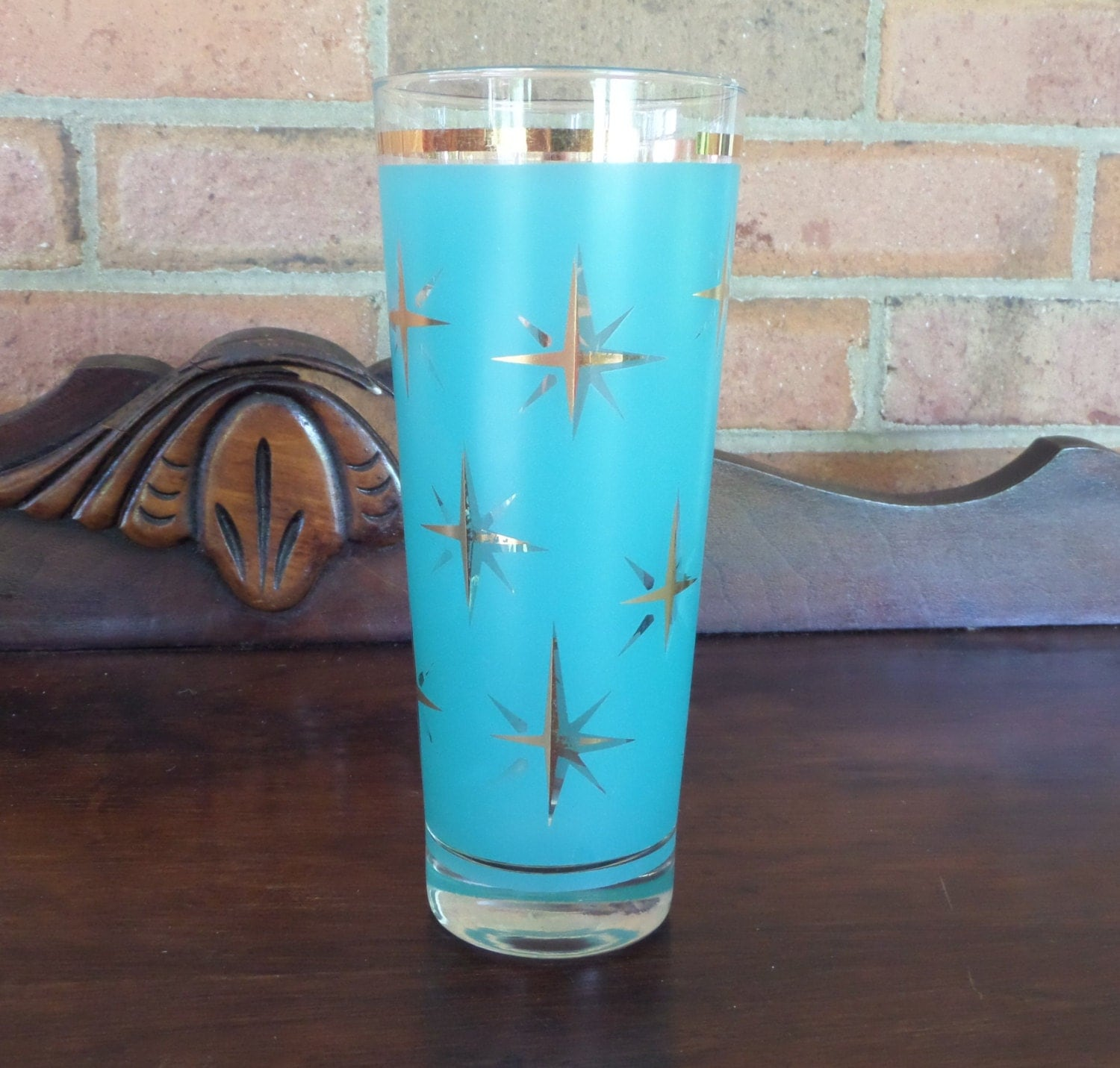 1950s atomic starburst drinking glass teal color - Starburst glassware ...