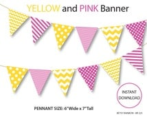 Printable banner, digital banner, pink and yellow banner, DIY party  - BR 225