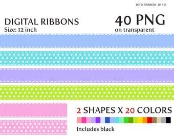 Digital ribbons in 20 colors 40 PNG, digital border, ribbon clipart - BR 151