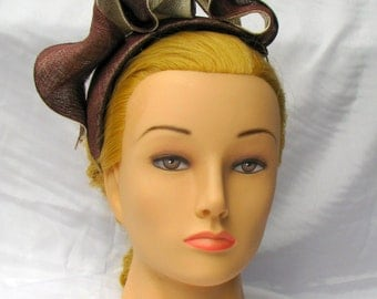 Brown and Ivory sinamay headpiece
