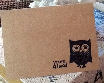 Owl with Dots You're A Hoot Hand Stamped Kraft Note Card