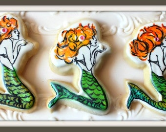Custom Decorated Mermaid Sugar Cookies
