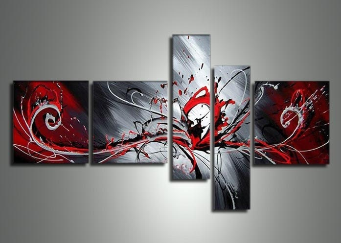 Red And Black Abstract Wall Art Hand painted Black White And
