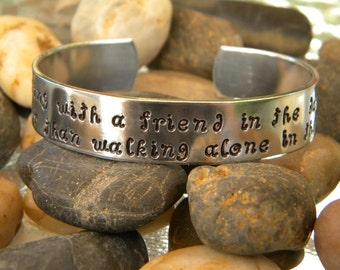 Friendship Bracelet - Walking with a friend in the dark... Helen Keller quote