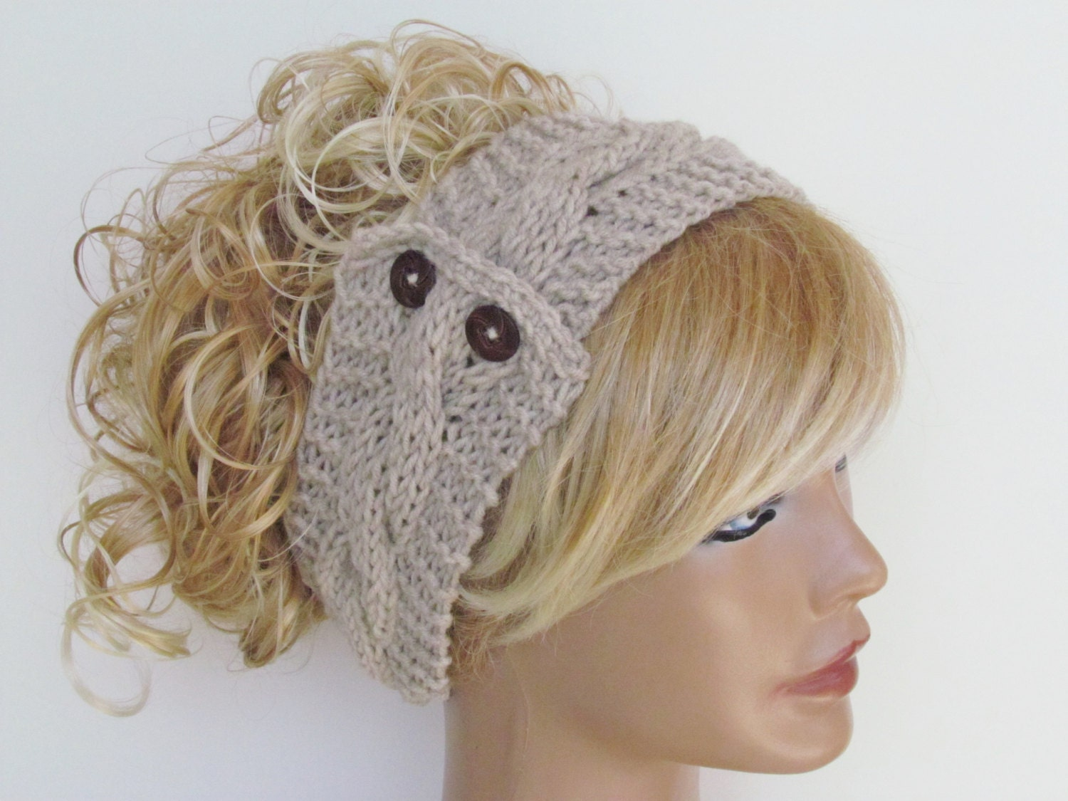 Stone Knitted Headband With Wooden Buttons Ear by COLORFULHAIR
