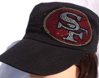 Rhinestone SF 49ers Military/Trucker/Baseball Hat