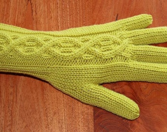 Merino Wool Gloves with cable pattern - Bright Green