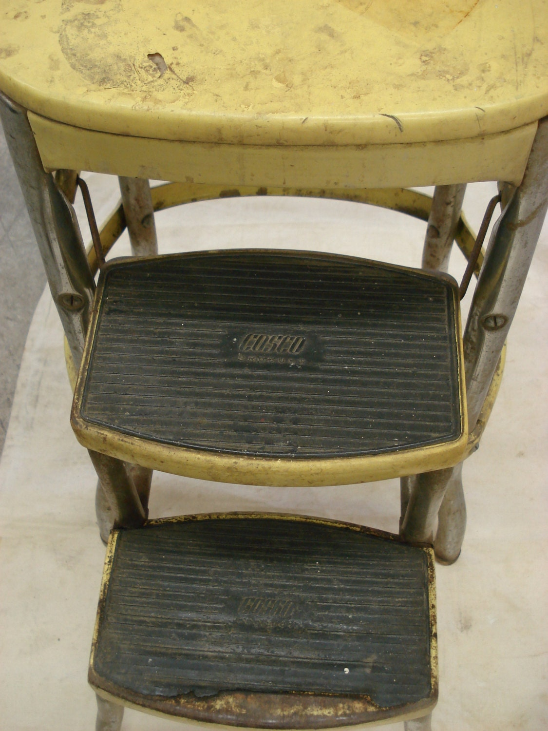 Vintage Metal Yellow Folding Costco Chair Step Stool Fold Out