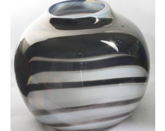Black and White Bowl or Vase, Opaque and Translucent Black and White Bowl,Vase, Closed Bowl, Hand Blown Glass Bowl, Gift/Vase- Free Shipping