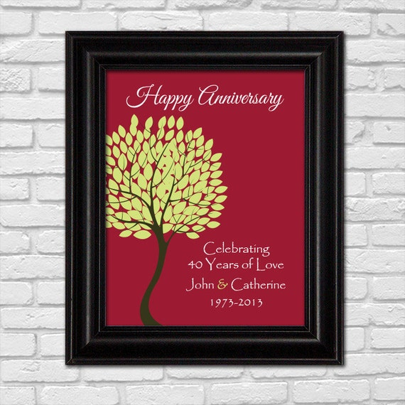 Ruby Wedding Gift For Parents : 40th Anniversary Gift for Parents40th Ruby Anniversary print ...