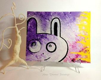 Rabbit wall art, nursery wall decor, whimsical bunny portrait, acrylic canvas, hare wall art, bunny painting, fun wall art