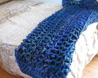 Blanket, crochet blanket, deep blue sea blanket, blue and green blanket, dark blue blanket, blue crochet throw, room accent