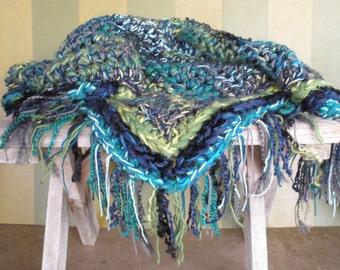Blanket, crochet throw blanket, lime green, aqua, turquoise, dark blue blanket, fringe blanket
