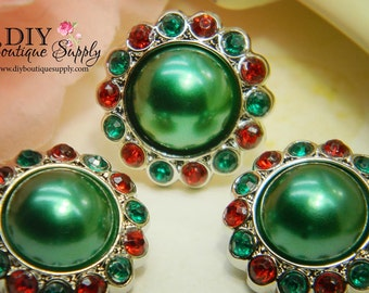 5 pcs 23mm CHRISTMAS Pearl buttons Green & Red - Holiday Rhinestone Pearl Embellishments - Flower centers Headband Supplies 202040
