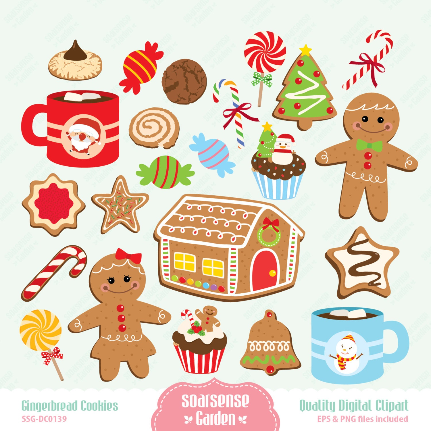 Gingerbread Clipart Gingerbread cookies digital