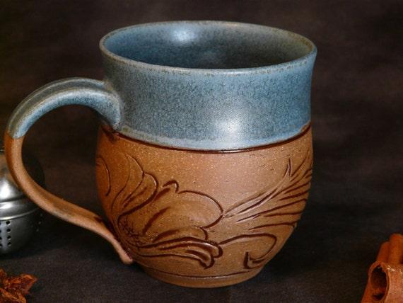 Denim and Leather, 10 ounce, Pottery Mug - Ready to Ship - (coffee, tea, ceramic, cup, stoneware)