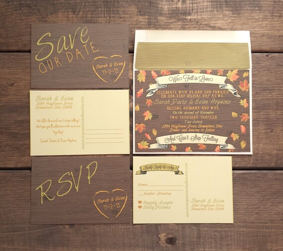 Invitation Packages Wedding: Wedding Invitation Suite Autumn Falling By EvergreenandWillow