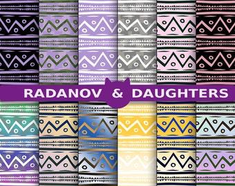 Tribal Digital Paper, Chevron Paper, Zigzag Design, Instant Download