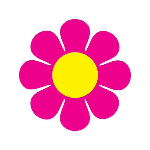 60s Vintage Style Pink Flower Daisy Custom Vinyl Decal Graphic Sticker ...
