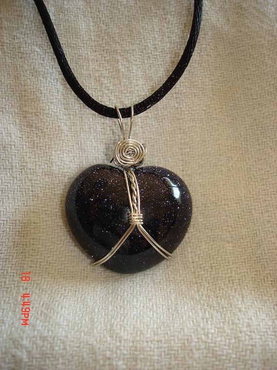 blue goldstone necklace sparkle necklace pendant