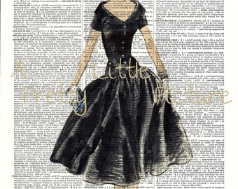 Dictionary Page Vintage Lady in Black Dress Mixed Media Art Work Fashion Art Print Upcycled Dictionary Page Art #243