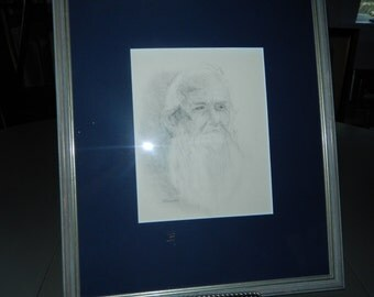 "Charcoal Drawing of an Old Man Signed ""Petorsen"""