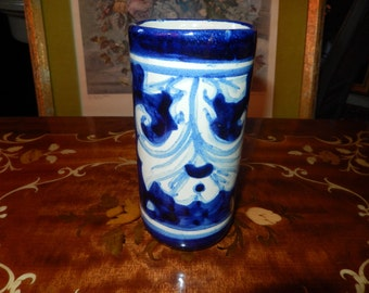 Hand Painted Mexican Vase Signed M. Mora