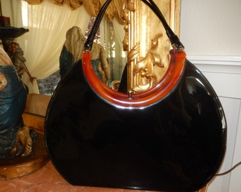 PATENT LEATHER PURSE with Bakelite Design