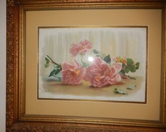 ANTIQUE PRINT of ROSES Dated 1895