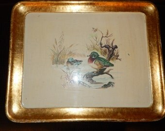 FLORENTINE TRAY with DUCKS in Pond