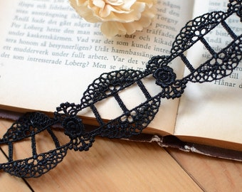 Sell By Yard 3.7CM Wide High Quality Embroidery Double Wave Edges Black Venice Necklace Lace Trim