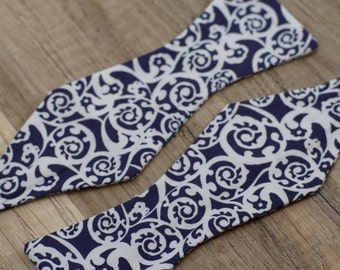 Handmade bow tie blue floral self tie freestyle classic pattern colorful cotton bowtie