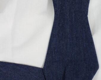 Handmade bow tie blue denim jean self tie freestyle colorful cotton bowtie