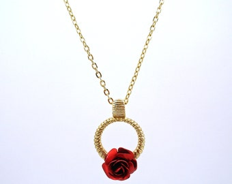 SALE - American Beauty Rose Necklace