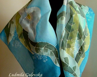 Scarf.Natural silk hand painted scarf, light blue scarf, calla