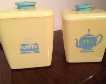 Vintage Yellow Canisters - Coffee and Tea - Set of 2