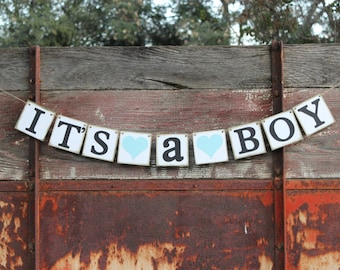 Baby Shower Banner Garland Its A Boy Banner ~ Rustic Country Shower or party banner or decoration