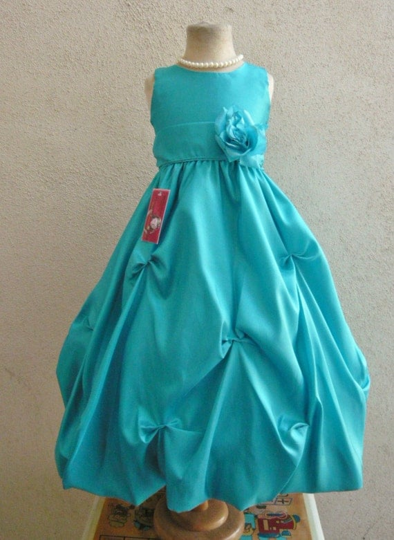 Flower Girl Dress TEAL/Teal PO1 Wedding Children Easter Bridesmaid Communion Teal Red Champagne