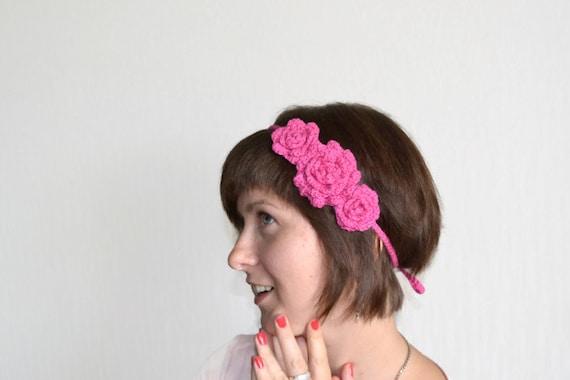Boho Crochet Headband Flowers - Pink - Eco-friendly Cotton