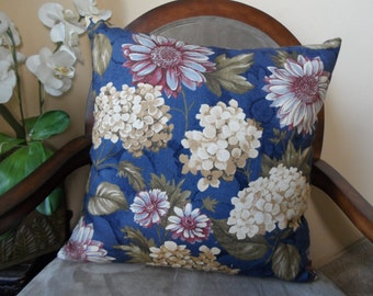 18x18 Blue Floral Pattern Design Pillow Cover