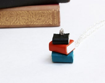 Colourful Pile of Books Necklace - Black, Orange, & Teal Book Stack - Miniature Handcrafted Book Necklace in Leather - OOAK Book Jewellery