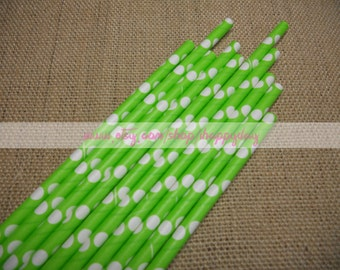 Lime Green Paper Straws 50 with White Polka Dots Party Straws for Birthday Baby Shower Cake Pop Sticks Wedding W/ Free DIY Printable Flags