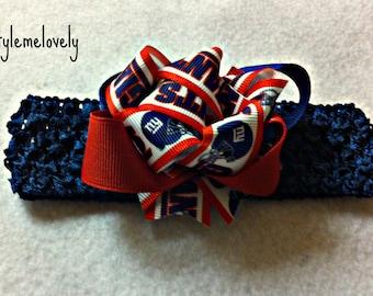 New York Giants Baby Girl Bow Crocheted Headband