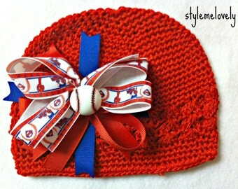 Philadelphia Phillies Baby Girl Boutique Bow Crocheted Hat